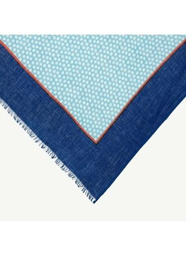 Yargıcı Yargıcı 0YKSL1381X Minimal Desenli Pamuk Şal Mavi
